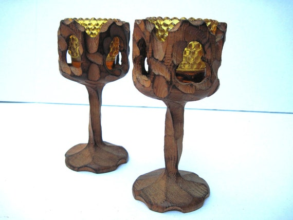 Retro candle holders carved wood  modern decor hobnail amber glass