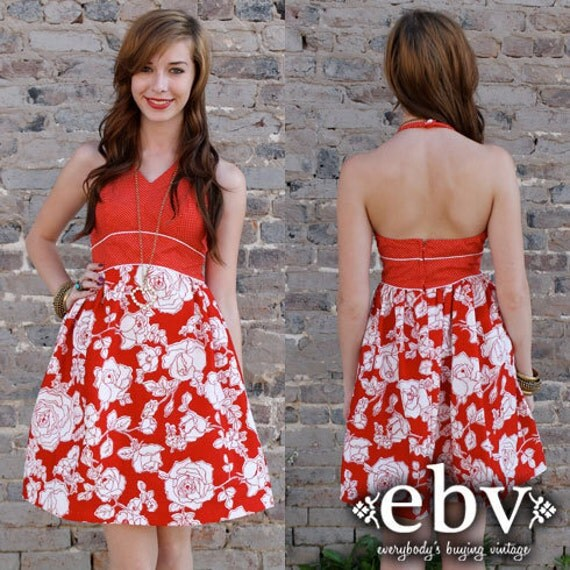 Vintage 70s Red Floral Hippie Babydoll Empire Waist Halter Mini Sun Dress XXS XS S