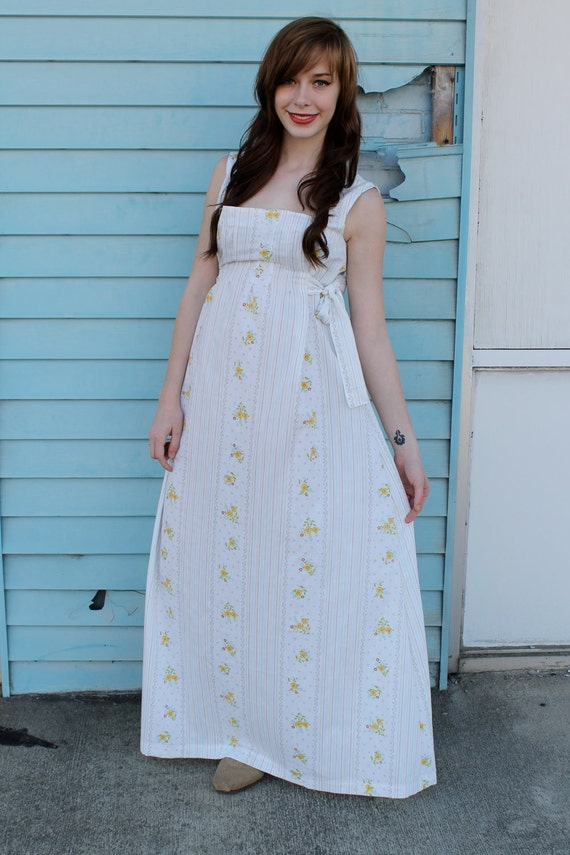 Handmade VINTAGE PRINT Hippie Boho Maxi Side Ties Wedding Sun Dress S M L Xl Plus Size