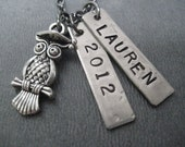 GRADUATION YEAR Necklace with Personalized Name Pendant - Custom Jewelry - Personalized Graduation Necklace on gunmetal chain - Grad - 2015