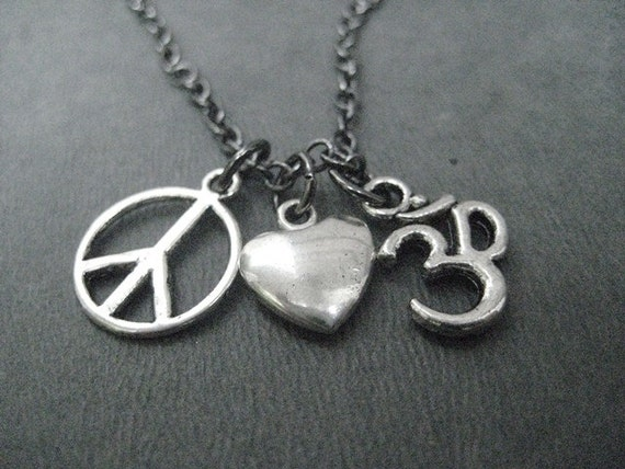 PEACE LOVE YOGA Necklace - Choose Om or Lotus Flower Charm - Yoga Jewelry - Om Necklace - 18 inch gunmetal chain - Yoga Jewelry
