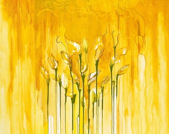 """Yellow Calla Lilies Fine Art Giclee by Tracey Chikos 18"""" x 18"""""""