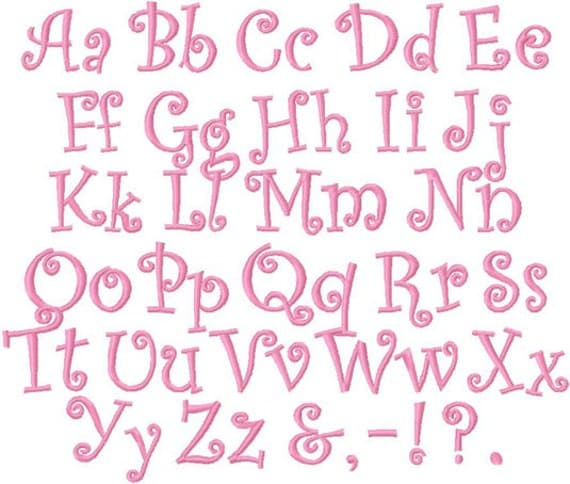 Bold curlz curls font alphabet 1 inch and 1 and a half inch for 1 inch letters