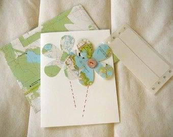 "Vintage Atlas Flower Card and Map Envelope-- 4.5"" x 5.5"""