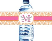 Damask Water Bottle Labels - 100 Wedding Water labels with your wedding colors
