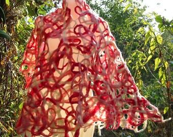 Nuno Felt Shawl,Felt Wrap Shawl,Large Shawl,Wool Cape,Nuno Felt Capelet, Felt Cape,Wrap Shawl,Hem Stitched Shawl,Handmade