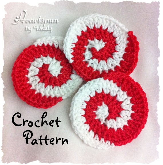 CROCHET PATTERN to make a Christmas Peppermint Candy Pinwheel, Instant Download, PDF Format. Ornament, Dish Scrubber, Body Scrubber, Coaster