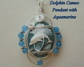 SALE - Cameo Pendant, Dolphin with Aquamarine, wire sculpted,  Silver chain