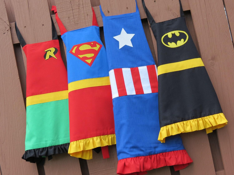 White ruffle apron australia - Kids Superhero Apron For Girls Or Boys Chose Your Hero No Ruffles On Boys Aprons
