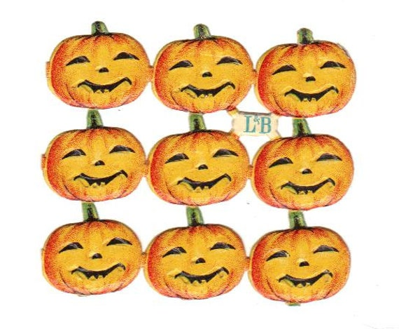 Circa 1905 Antique German Die-Cut Halloween Jack-O-Lanterns - Pumpkins - 9 Pieces - UNUSED