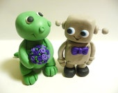 Dinosaur and Robot Wedding Cake Topper - Choose Your Colors