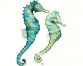 Ocean Life Package/ 5 Watercolor Prints for 90.00 /Genesis/Modern Graphic Print/Crab/Starfish/Seahorse/ Crab/Sea turtle/Beach