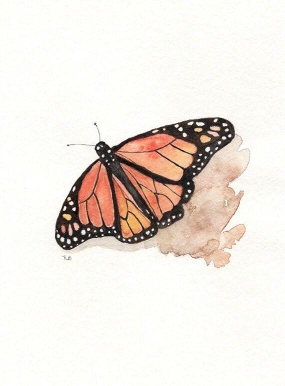 Monarch Butterfly/orange, yellow,brown, black  Watercolor Print