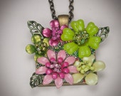 Hot pink and lime green flower necklace pendant, square shaped, hand painted brass