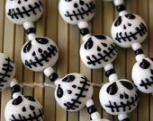 Halloween Jack Skellington Lampwork Glass Beads(Pack of 12 beads) L01012