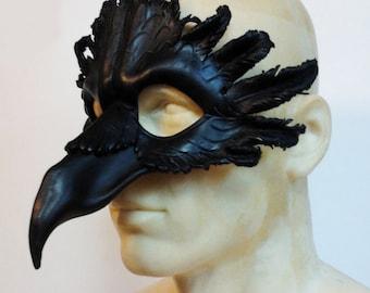 Large Raven Leather Mask