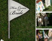 CUSTOM PERSONALIZED mini double sided canvas FLAG: hand painted flag for wedding, flower girl or ring bearer. (item 1212)