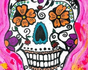 "Supernovae Original Art PRINT ""Sugar Skull"" Ink Drawing FREE Shipping 8""x10"" Day of the Dead Skull"