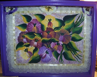 """Original Painting on Canvas of """"Bouquet of Pansies"""" in a Wooden Shadow Box Frame"""