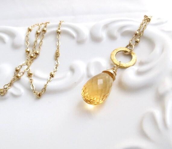 Citrine Briolette Gold Necklace