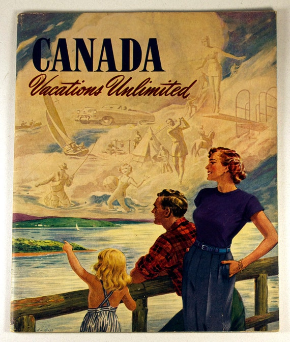 CANADA Vacation Book, 1950s vintage vacation travel guide