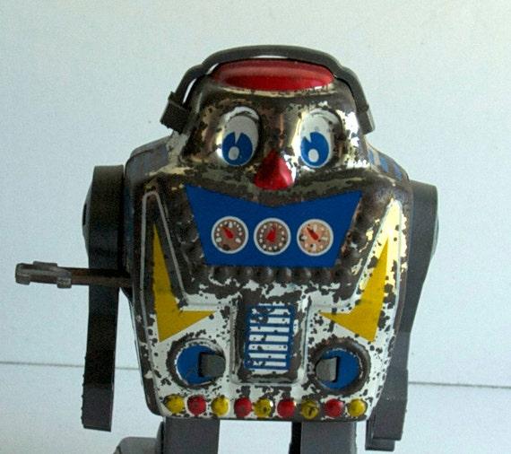 Tin Robot Wind-Up, 1980s Vintage