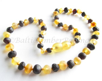 Baltic Amber Teething Necklace, Raw Unpolished Lemon And Black Color Beads