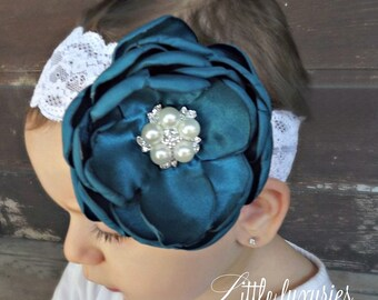 Beau Satin Orné- Handsinged Satin Peony with stunning Pearl and Crystal Center on an Ornate Wide Elastic Lace Headband