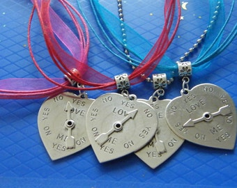 Silver Heart Pendants! Silver Heart, 'Love Me Yes No,' Spinning Arrow, Quote Pendants! Girls Gifts, T'ween Gifts, Teen Gifts, Fun Jewelry