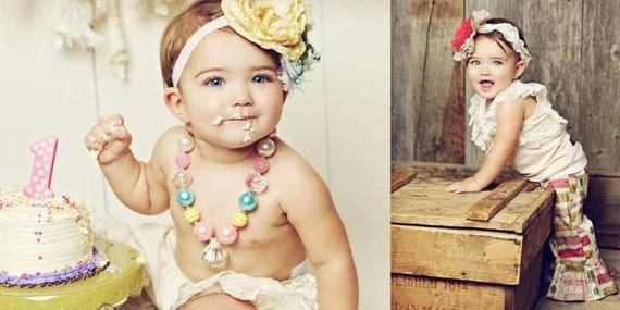 Spring Crush Chunky necklace with pearls, bling, bubblegum style, and faceted Beads perfect photo prop m2m persnickety and Matilda Jane