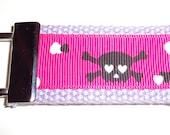 Hot Pink Skull Keychain - Purple Cotton Webbing