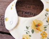 Baby bib made from yellow vintage floral fabric - FREE shipping within Australia
