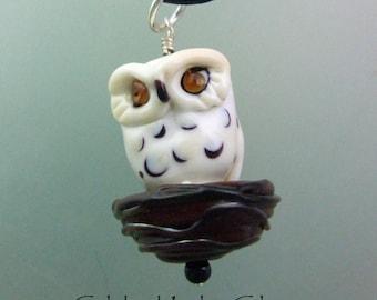 Nesting Owl Pendant, torchwork glass jewelry handcrafted in North Carolina