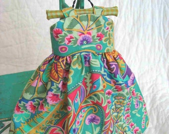 Doll Dress Summer Sundress with Coral Bead Necklace Kaffe Fassett Fabric Hanger Peony Magnolia Biscuit