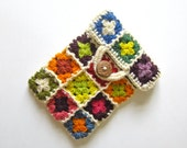 iPad mini case, cover, sleeve, pouch, cosy, colorful, crochet, patchwork, granny square, lady gift