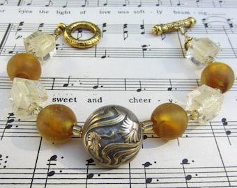 Amber and Gold Vintage Button Bracelet