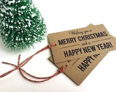 Christmas Gift Tags - Wishing you a Merry Christmas and a Happy New Year - Set of 10