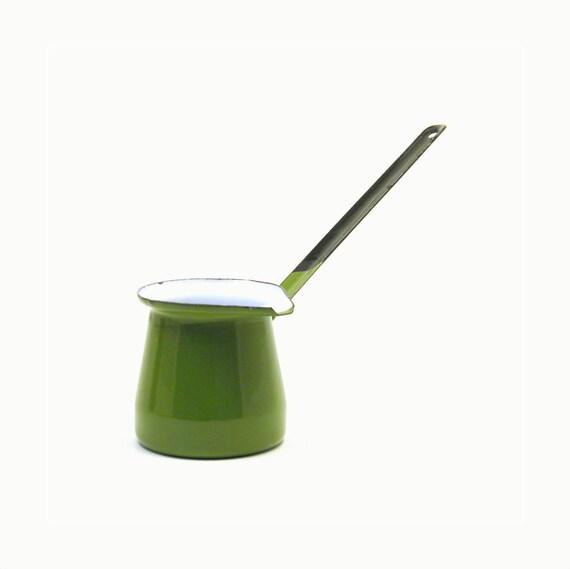 Turkish Coffee Pot, Vintage Olive Green Enamel Ibrik