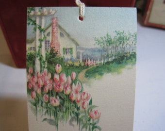 1920's-30's  unused pretty country cottage bridge tally card white picket fence pink tulip garden