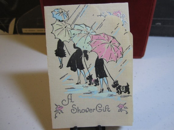 Art Deco Wedding Gift : Art Deco Wedding Shower gift card die cut Ladies with black scotty ...