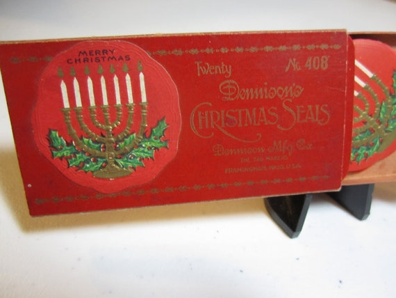 Antique box of 20 1910's 1920's  die cut embossed gold gilded  Dennison's Christmas Seals Menorah and holly berry