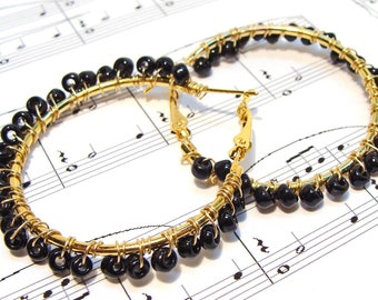 Black Wire Wrapped Beads on Gold Hoop Earrings - black earrings, wire wrap, hoop earrings, goldtone earrings, gifts for her, etsy handmade