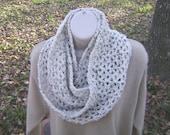 Crochet Mobius Cowl Infinity Scarf Ivory Tweed Men Women Teen
