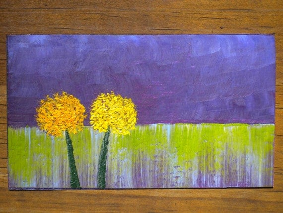 Miniature Dandelion Field - Oil Handpainted Magnet ACEO (Free US Shipping)