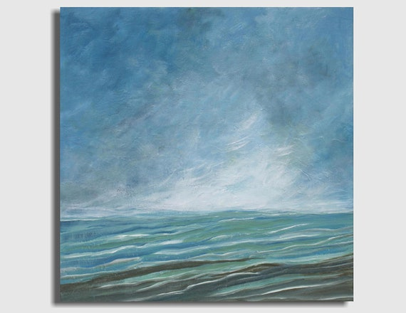 Large Abstract Seascape Painting - Lost at Sea (Sand Bar Blues) - (24x24) Original Acrylic Painting