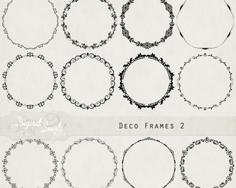 Deco Frames 2 - Digital Clipart for card making, scrapbooking, invitations, printed products, commercial use, instant download