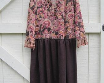 Boho dress, M-L, Tattered torn romantic hippie Rustic Boho dress prairie brown purple, casual dress upcycled