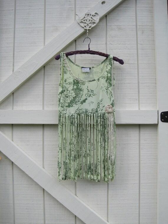 Hippie top, Boho Babydoll top, gypsy top, green Small Medium ready to ship