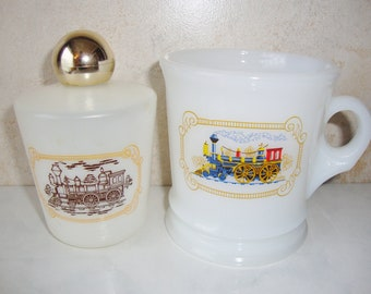 Vintage Avon Shaving Mug, White Glass, Train