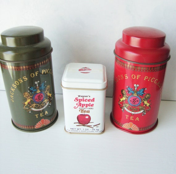 Vintage Small Tea Tins, Set of 3: Jacksons of Piccadilly and Wagner's